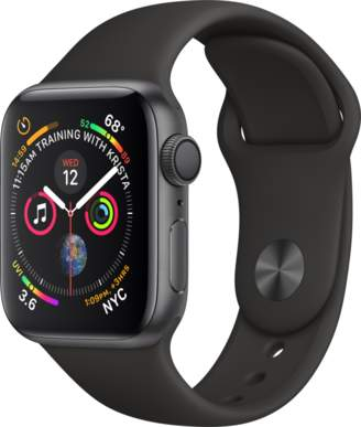 Apple AppleWatch Series4 GPS, 40mm Space Gray Aluminum Case with Black Sport Band