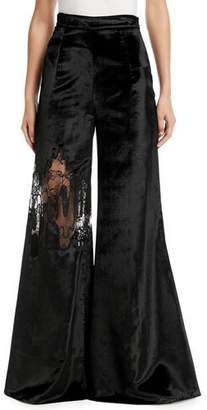 CUSHNIE High-Waist Wide-Leg Velvet Pants w/ Lace Inset