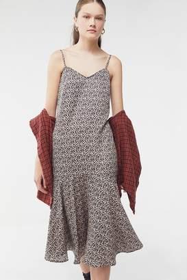 Urban Outfitters Gianna Leopard Print Ruffle Midi Dress