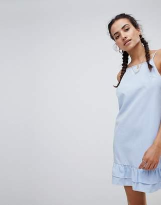 PrettyLittleThing Stripe Square Neck Frill Hem Dress