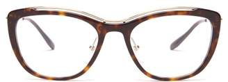 Prada Acetate Cat Eye Tortoiseshell Optical Glasses - Womens - Tortoiseshell