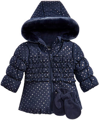 Co S Rothschild & Baby Girls 2-Pc. Floral-Print Hooded Jacket & Fleece Mittens Set