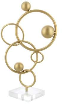 DecMode Decmode Glam 17 Inch Iron and Acrylic Rings and Spheres Abstract Sculpture, Gold