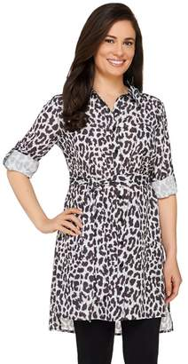 Dennis Basso Animal Print Button Down Woven Tunic with Tie Belt