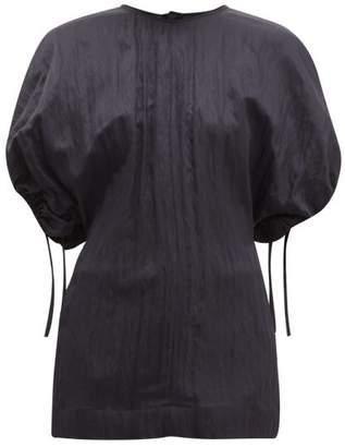 Jil Sander Dolman Sleeve Wrinkled Twill Top - Womens - Dark Navy