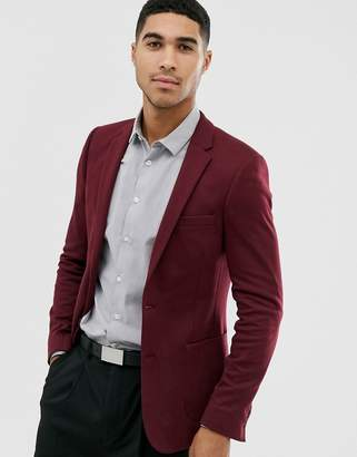 Asos Design DESIGN super skinny jersey blazer in burgundy