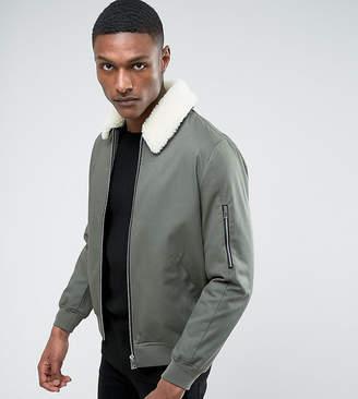 Asos DESIGN TALL Cotton Bomber Jacket With Fleece Collar In Khaki