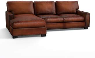 Pottery Barn Turner Square Arm Leather Sofa with Chaise Sectional with Nailheads