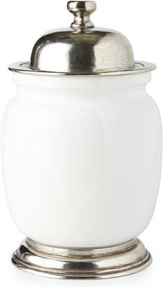 Medium Ceramic & Pewter Canister