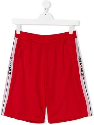 MSGM TEEN side-striped track shorts