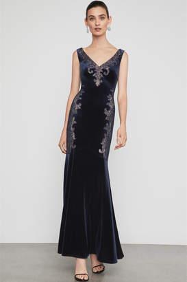 BCBGMAXAZRIA Velvet & Lace Gown