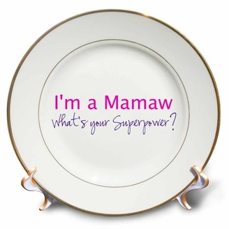 3dRose Im a Mamaw. Whats your Superpower - hot pink - funny gift for grandma, Porcelain Plate, 8-inch