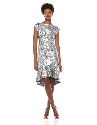 ECI New York Women's Floral foil Printed Menswear Dress with Ruffle Flounce