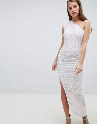 Forever Unique One Shoulder Mesh Aysmetric Dress
