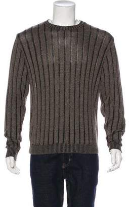 Luciano Barbera Silk & Linen Striped Knit Sweater