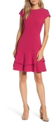 Eliza J Stretch Ruffle Crepe Sheath Dress