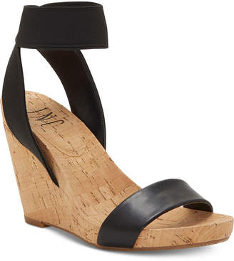 INC International Concepts Inc Leanira Stretchy Ankle-Strap Wedge Sandals, Women Shoes