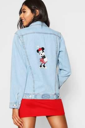 boohoo Disney Mickey Graphic Denim Jacket