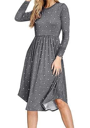 Freemale Women Long Sleeve Pleated Polka Dot Swing Casual Midi Dress with Pocket