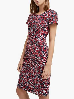 c147980fb6f French Connection Alletea Floral Fitted Dress, Rosso Red/Multi