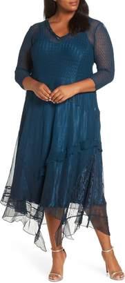 Komarov Beaded Handkerchief Hem Dress
