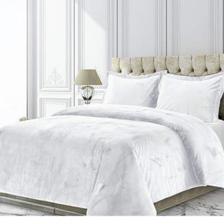 Tribeca Living Venice Velvet Oversized Solid King Duvet Cover Set Bedding
