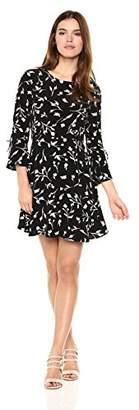 Lucky Brand Women's Bell Sleeve Dress in Black Multi