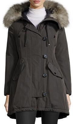 Moncler Arriette Fur-Trim Puffer Coat $2,210 thestylecure.com