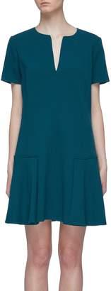 Oscar de la Renta Notched collar virgin wool blend crepe peplum dress
