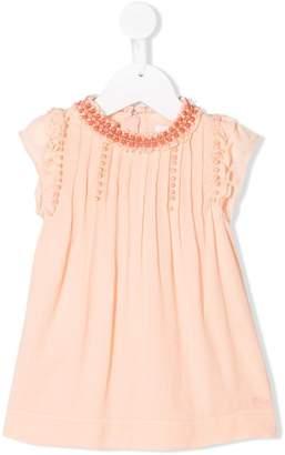 Chloé Kids bead embroidered pintuck dress