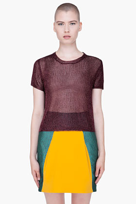 Opening Ceremony Burgundy Lurex Knit T-Shirt