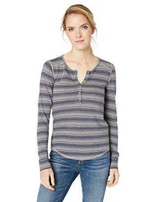 Lucky Brand Women's Stripe Henley Thermal TOP