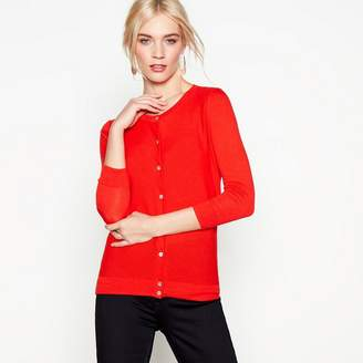 J by Jasper Conran Red Cotton And Wool Blend Cardigan