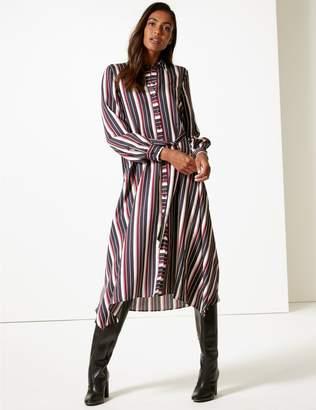 Marks and Spencer Striped Long Sleeve Shirt Midi Dress