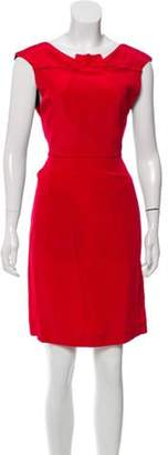 Roland Mouret Silk Pleat Trim Dress Red Silk Pleat Trim Dress