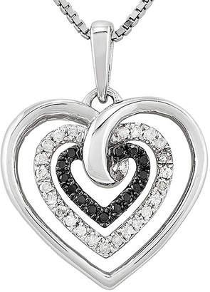 Black Diamond FINE JEWELRY 1/4 CT. T.W. White & Color-Enhanced Sterling Silver Heart Pendant