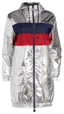 Fila Women's Lorna Shiny Metallic Jacket - Shiny Silver - Size Medium