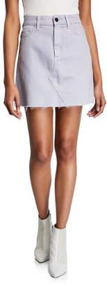 Paige Aideen Raw-Edge Denim Short Skirt
