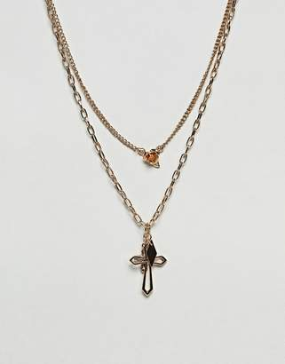 Asos Design Vintage Style Rose And Cross Pendant Multirow Necklace