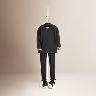 Burberry Long Sleeve Check Cuff T-Shirt