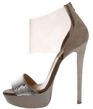 Christian Louboutin Leather High-Heel Sandals Silver Leather High-Heel Sandals
