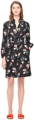 Rebecca Taylor Ikat Tulip Silk Tie Front Dress
