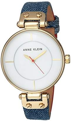 Anne Klein Women's AK/2924DDRD Gold-Tone and Dark Blue Denim Strap Watch