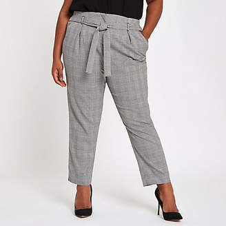 River Island Plus black check tapered pants