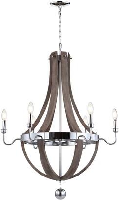 Jonathan Y Designs Georgia 30In Wood Metal Adjustable Led Chandelier
