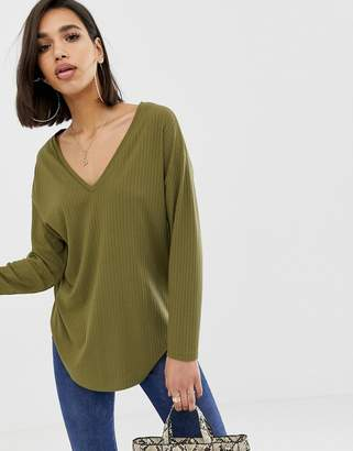 f2c08a95fdb Asos Design DESIGN oversized tunic with v-neck in khaki