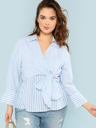 Shein Plus Surplice Neck Bow Tie Front Striped Top