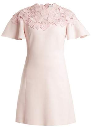 Giambattista Valli Macrame Trimmed Fluted Sleeves Crepe Dress - Womens - Light Pink