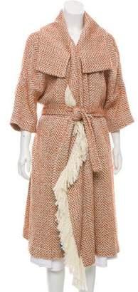 By Malene Birger Tweed Fringe-Trimmed Coat w/ Tags