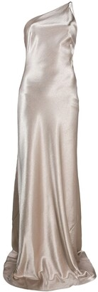 Galvan Roxy one-shoulder evening dress